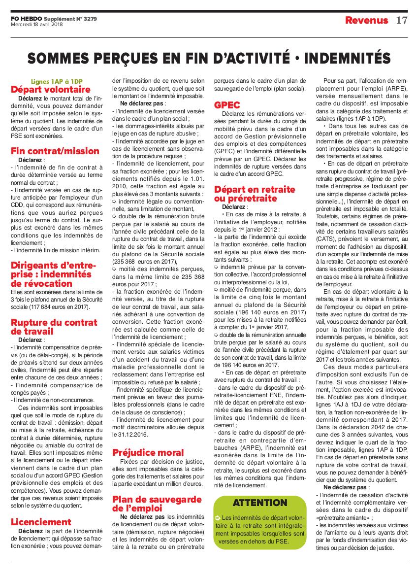 Actualites Fo Hebdo Special Impots 2018